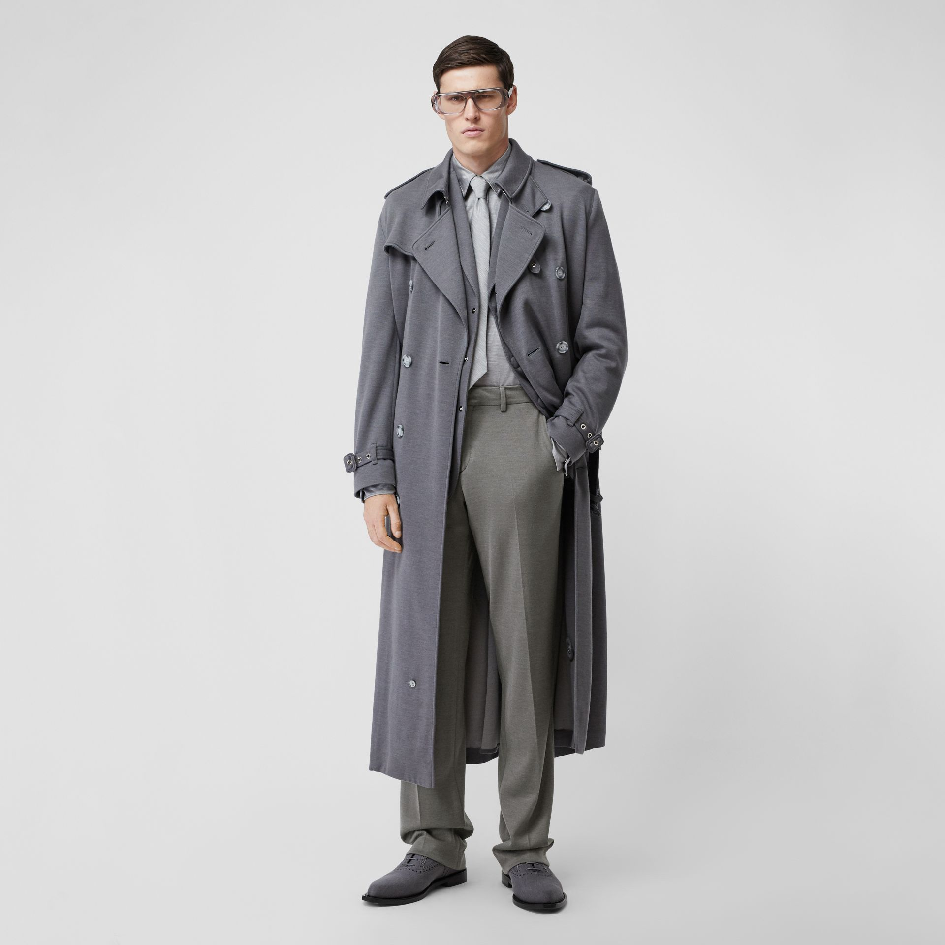 English Fit Cashmere Silk Jersey Tailored Trousers in Cloud Grey | Burberry - gallery image 0