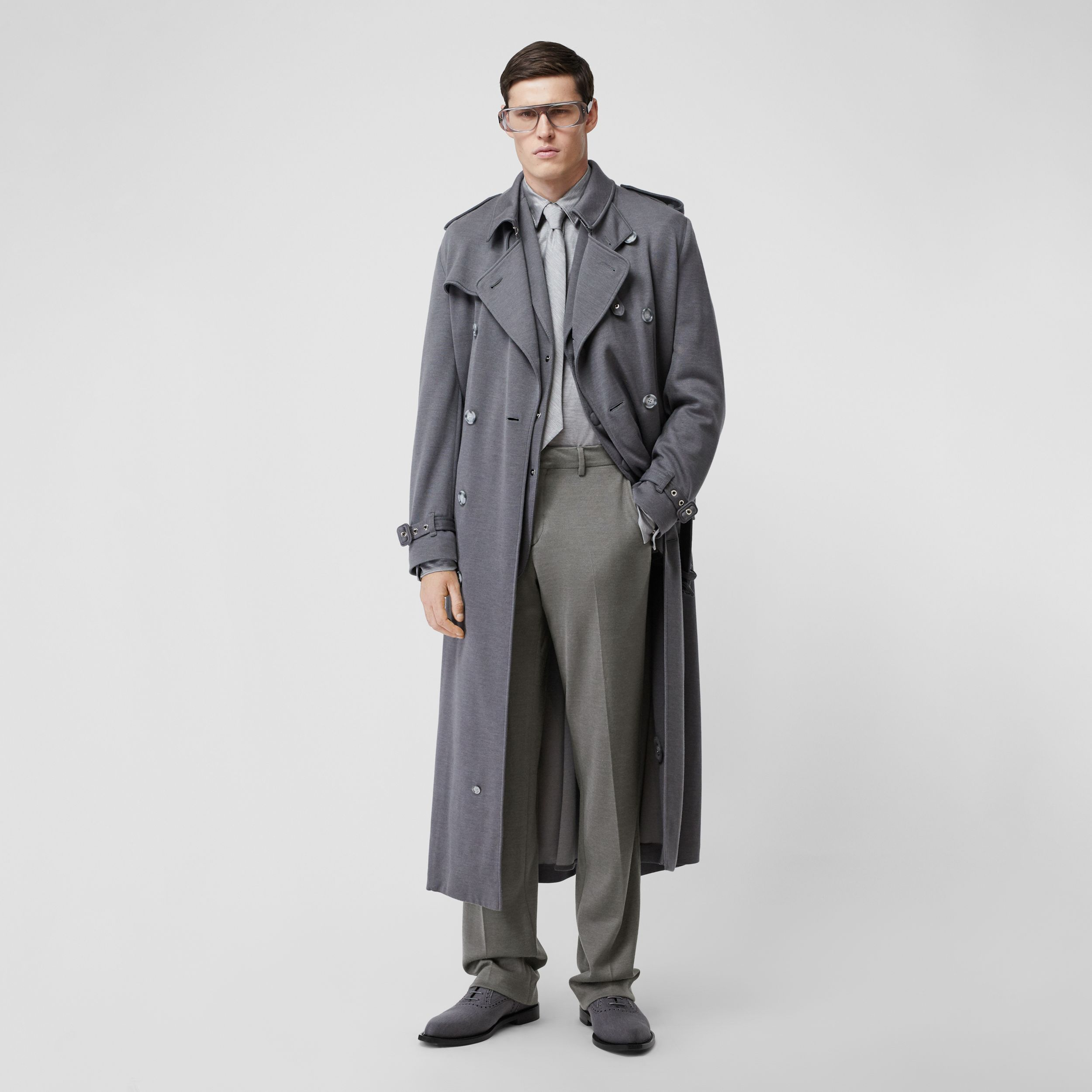 English Fit Cashmere Silk Jersey Tailored Trousers in Cloud Grey - Men | Burberry - 1