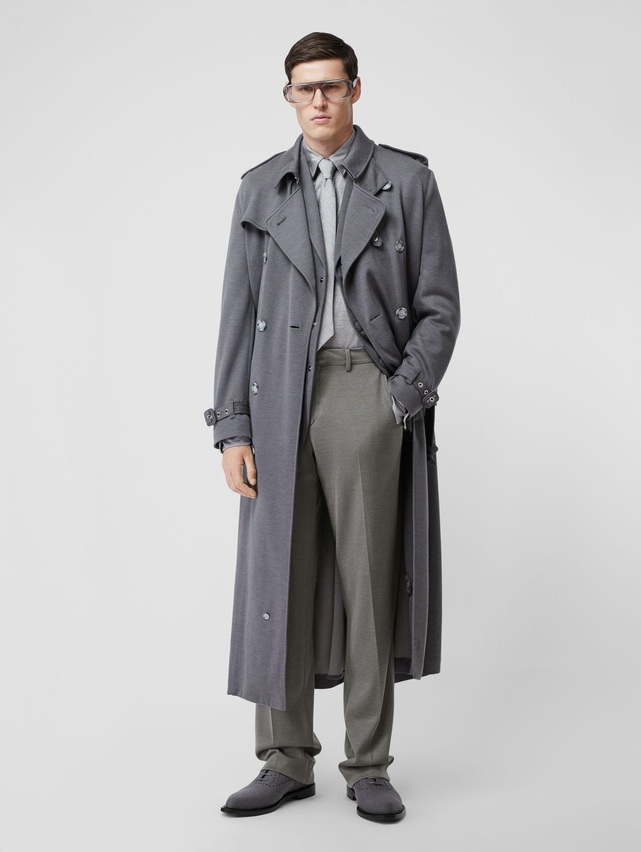 English Fit Cashmere Silk Jersey Tailored Trousers in Cloud Grey