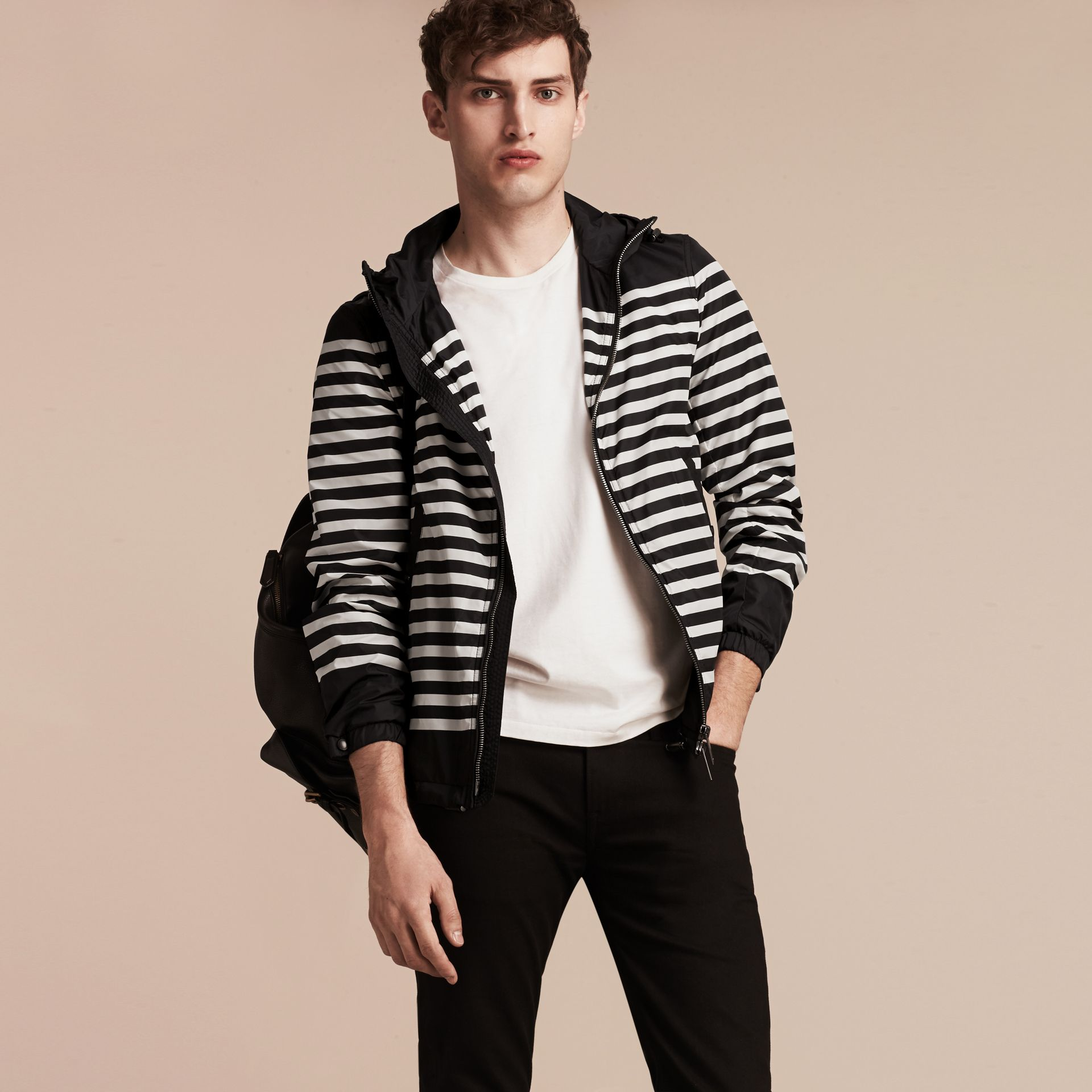 Black/white Striped Hooded Jacket - gallery image 5