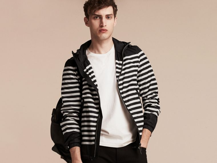 Black/white Striped Hooded Jacket - cell image 4