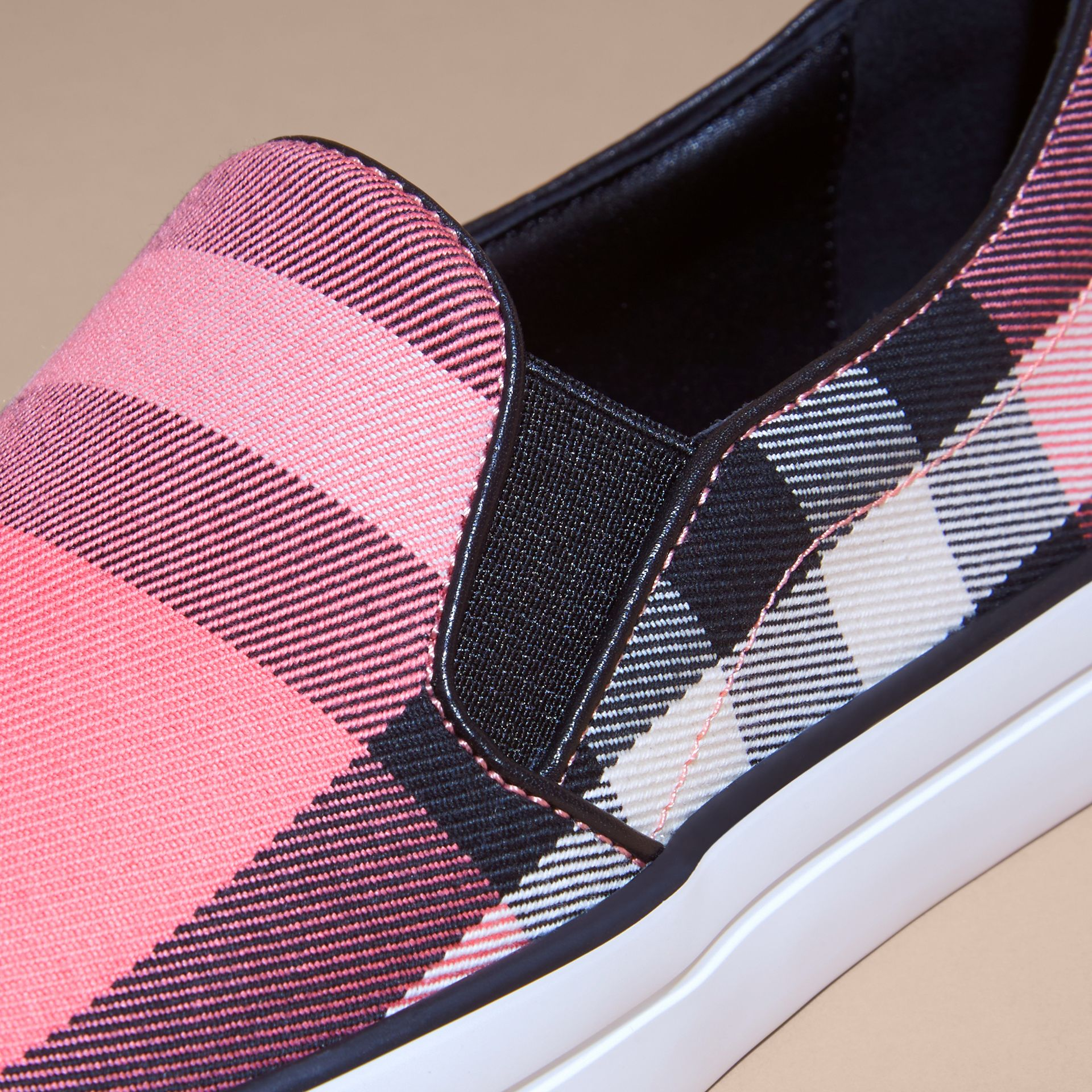 Overdyed House Check Cotton Slip-on Trainers Rose Pink - gallery image 2