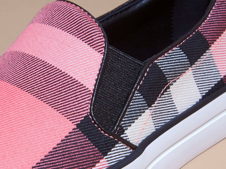 Overdyed House Check Cotton Slip-on Trainers Rose Pink - cell image 1