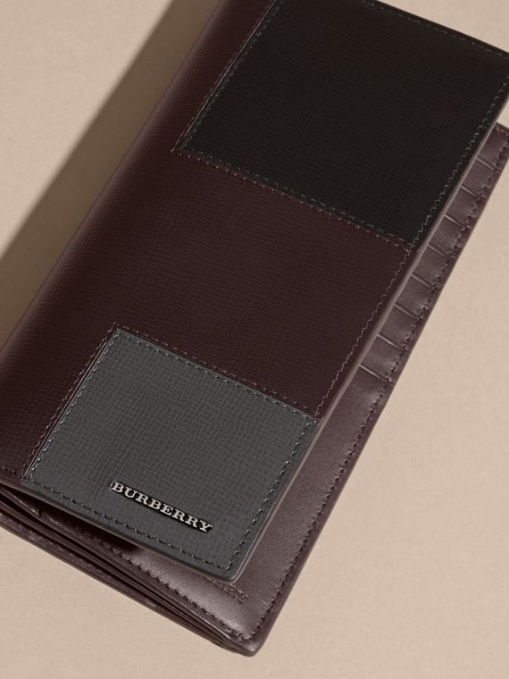 Wine Patchwork London Leather Continental Wallet Wine - cell image 2