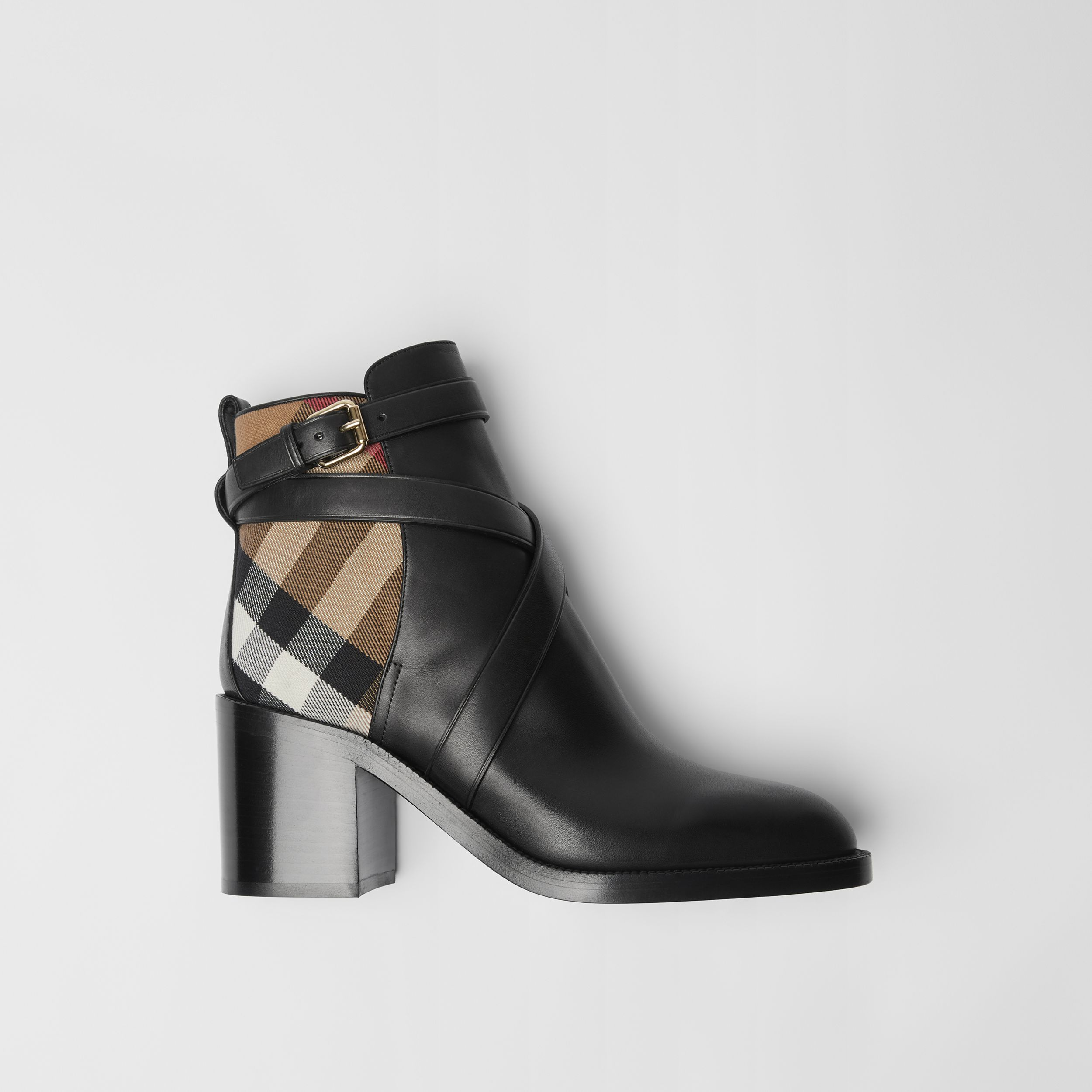 Stivaletti in pelle con motivo House check (Nero) - Donna | Burberry - 1