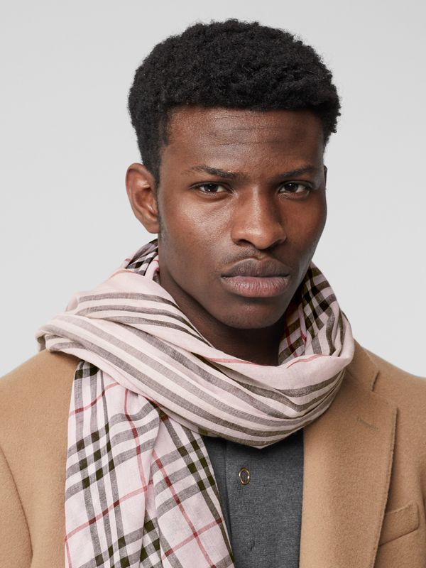 Icon Stripe and Vintage Check Wool Silk Scarf in Alabaster Pink | Burberry Canada - cell image 3