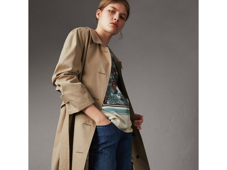 Resin Button Cotton Gabardine Trench Coat in Honey - Women | Burberry - cell image 4