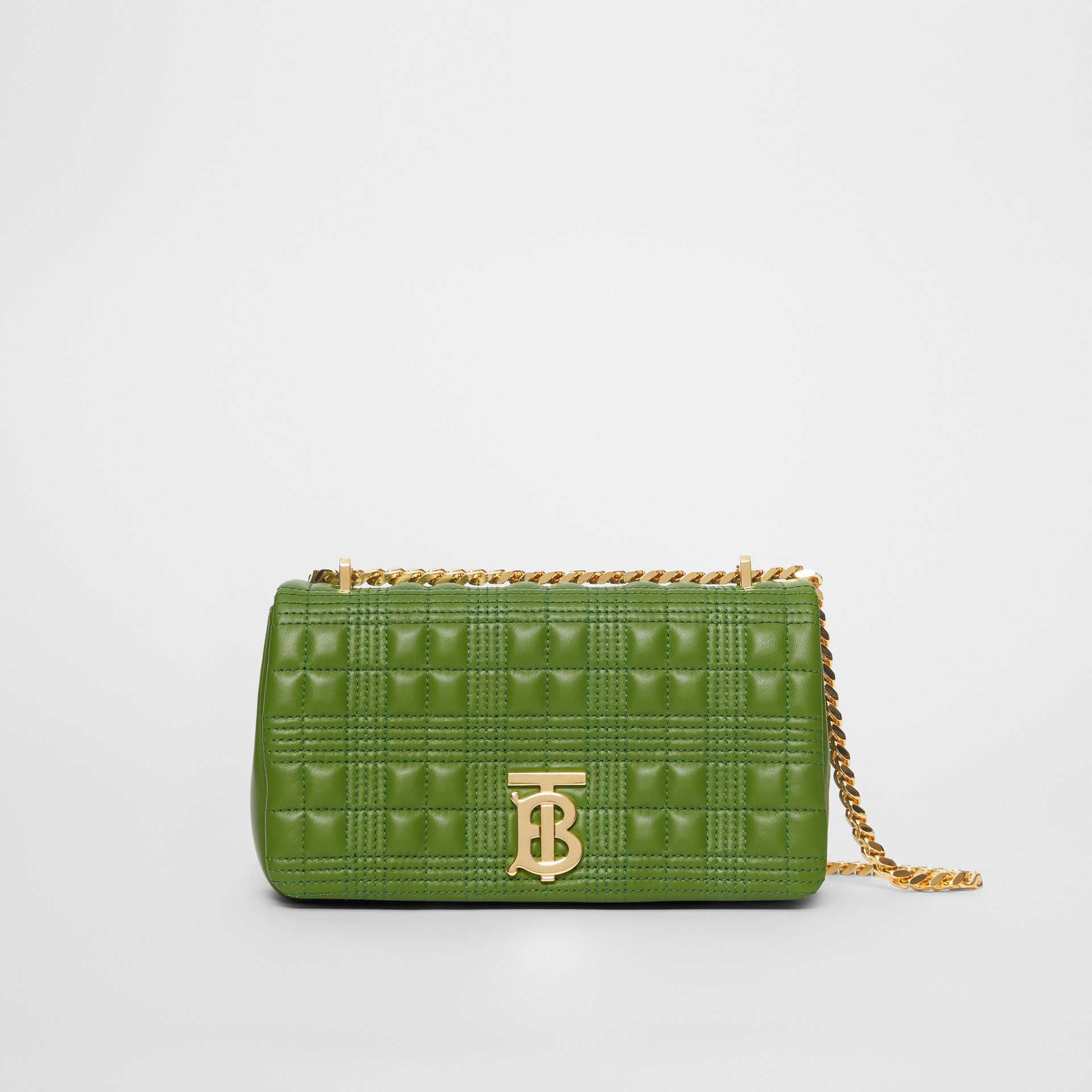 Small Quilted Check Lambskin Lola Bag in Green Forest - Women | Burberry - gallery image 0