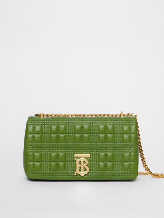 Small Quilted Check Lambskin Lola Bag in Green Forest