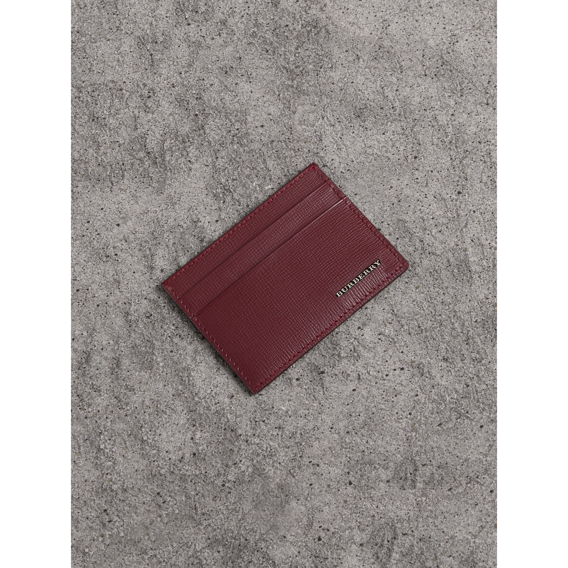 London Leather Card Case in Burgundy Red - Men | Burberry - gallery image 0