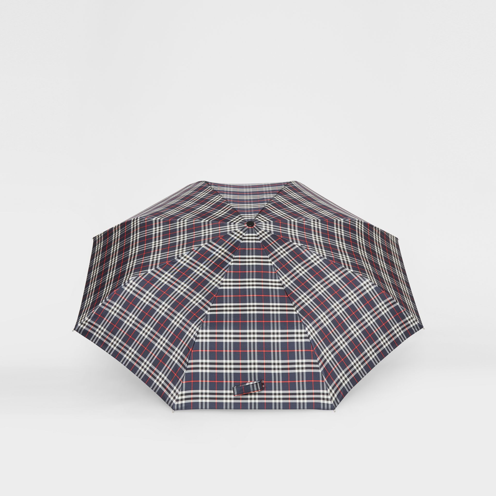 Check Folding Umbrella in Navy | Burberry United Kingdom - gallery image 2