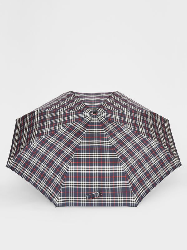 Check Folding Umbrella in Navy | Burberry United States - cell image 2
