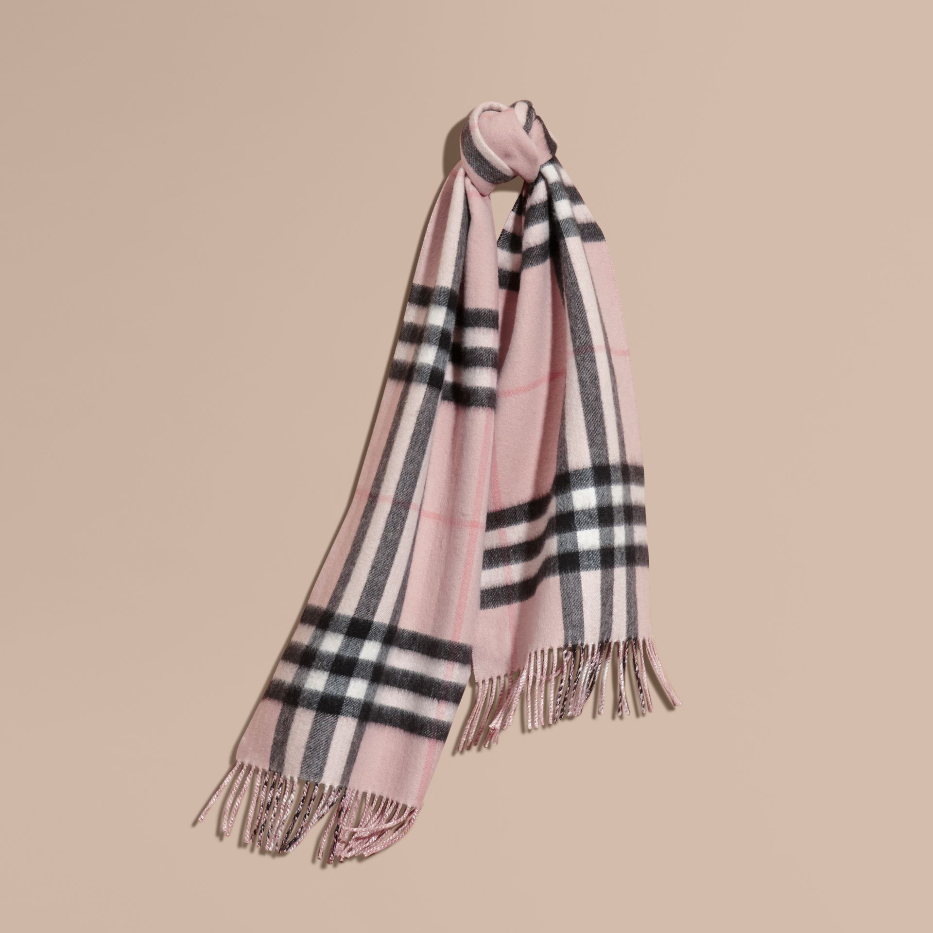 Ash rose Reversible Metallic Check Cashmere Scarf Rose - gallery image 6