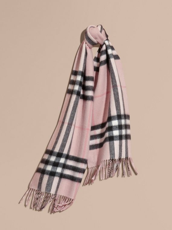 Reversible Metallic Check Cashmere Scarf in Ash Rose | Burberry