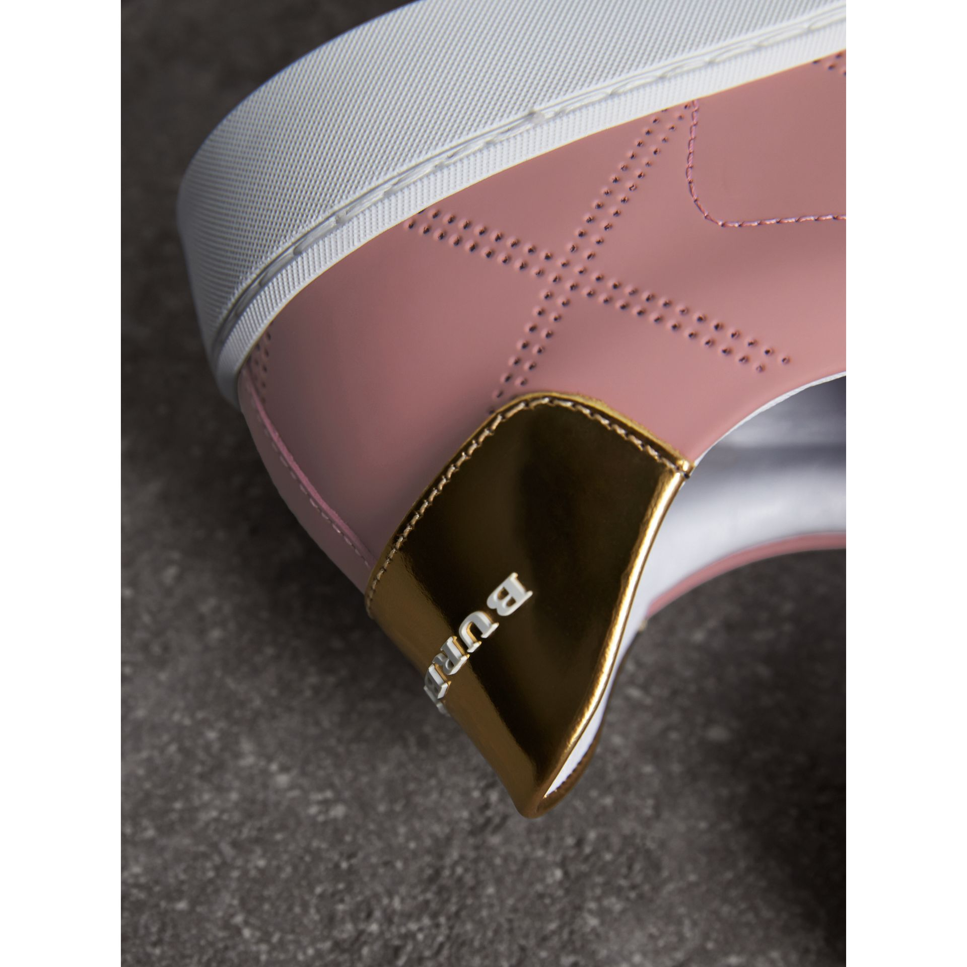 Perforated Check Leather Trainers in Rose Pink - gallery image 2