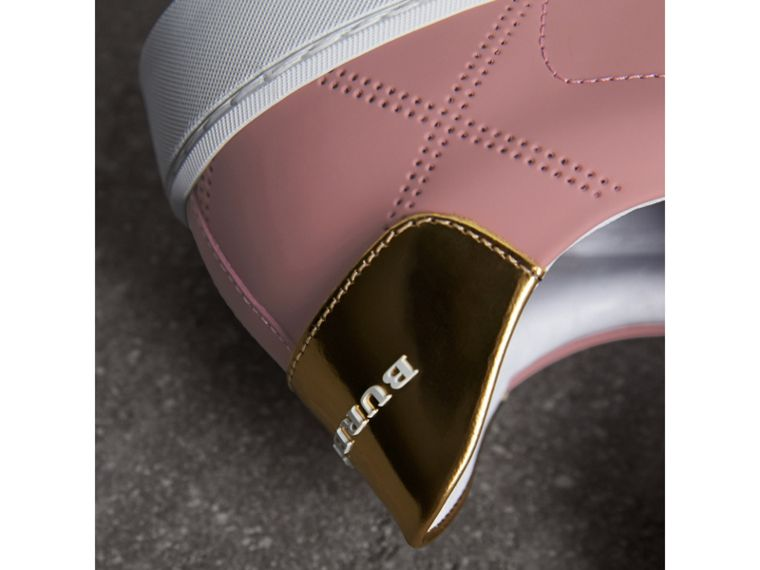 Perforated Check Leather Trainers in Rose Pink - Women | Burberry - cell image 1