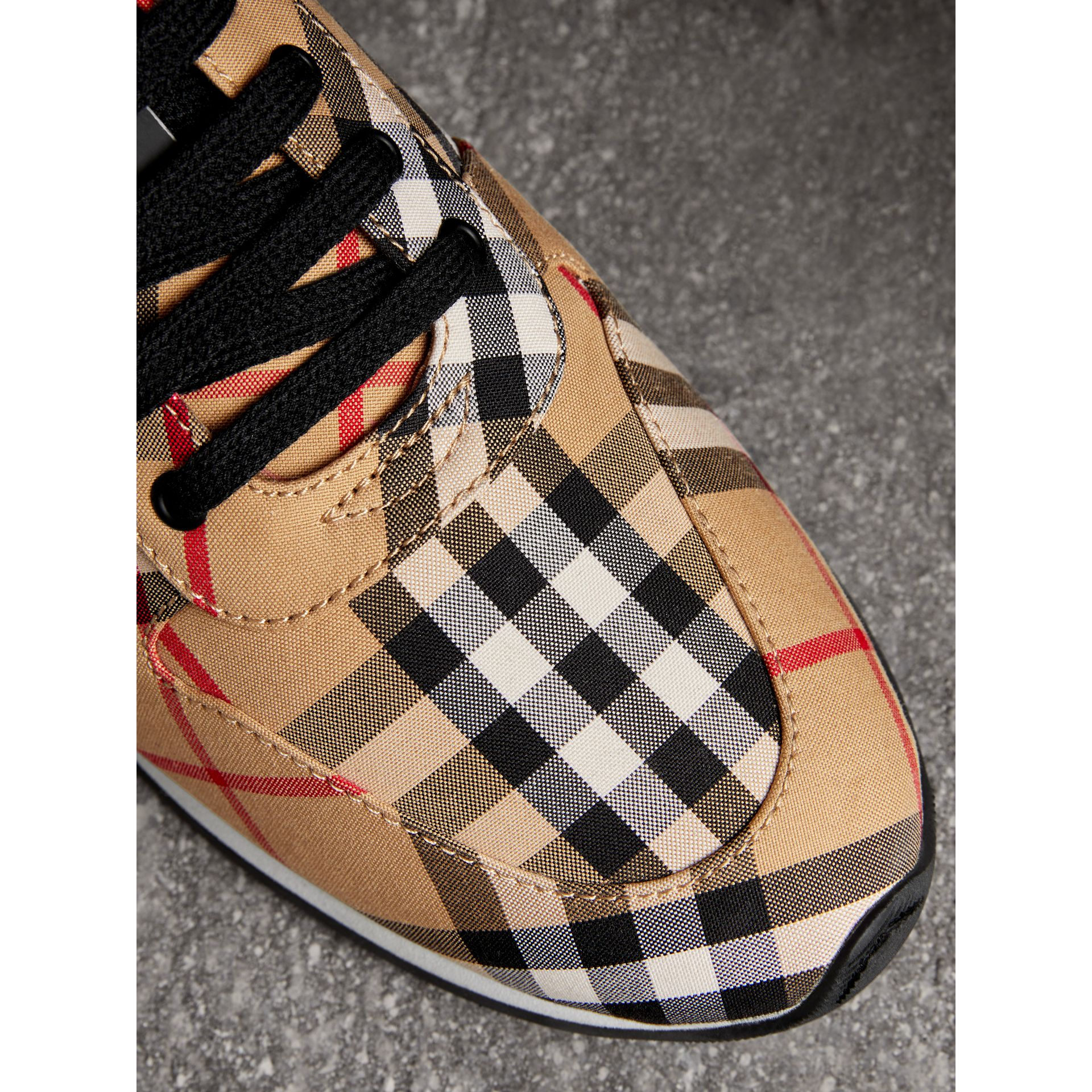 Vintage Check Cotton Sneakers in Antique Yellow - Women | Burberry United States - gallery image 1