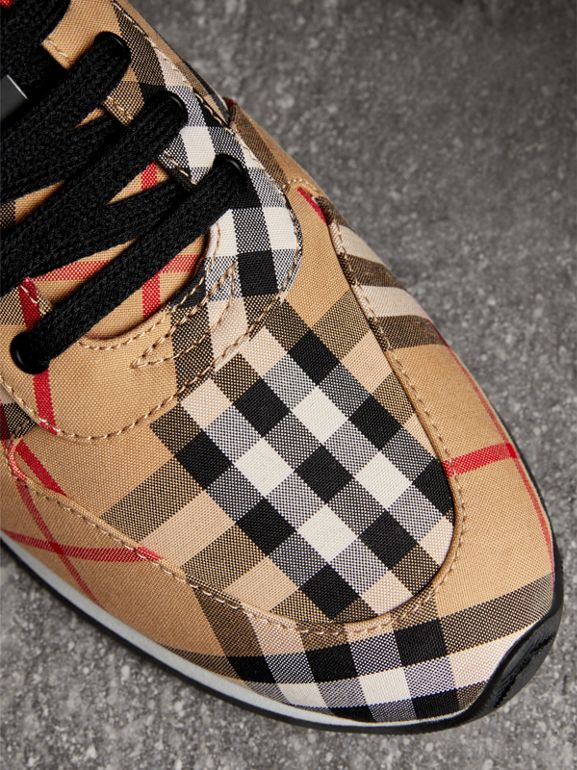 Vintage Check Cotton Sneakers in Antique Yellow - Women | Burberry United Kingdom - cell image 1