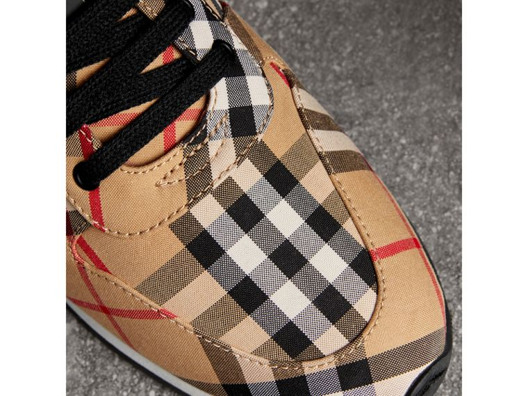 Vintage Check Cotton Sneakers in Antique Yellow - Women | Burberry United States - cell image 1
