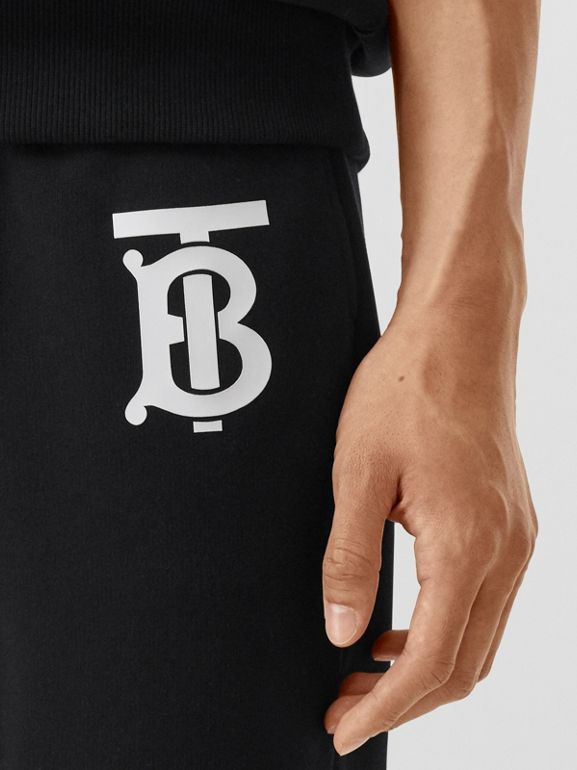 Monogram Motif Cotton Trackpants in Black - Men | Burberry - cell image 1