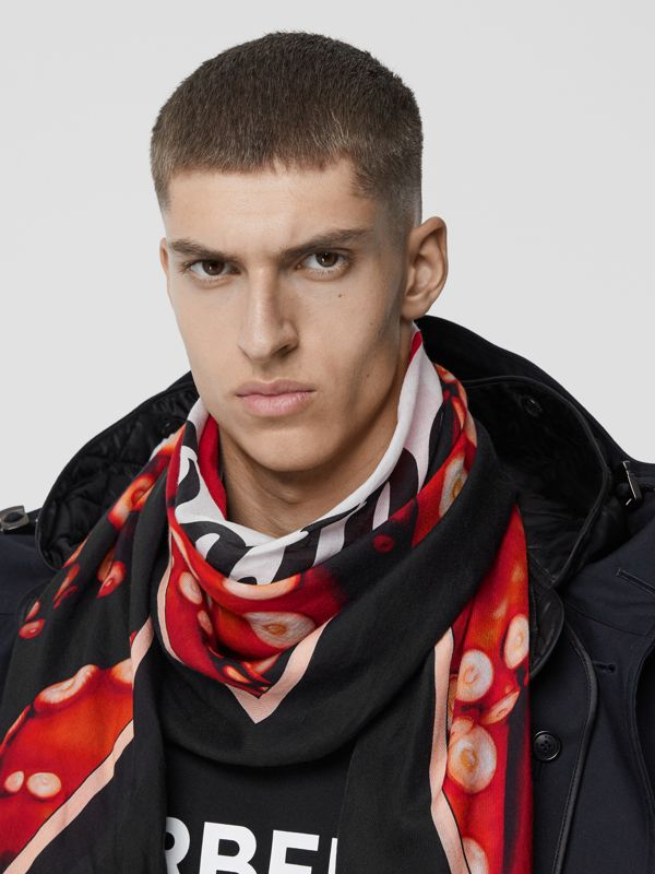 Octopus Print Cotton Silk Large Square Scarf in Coral Red | Burberry - cell image 3