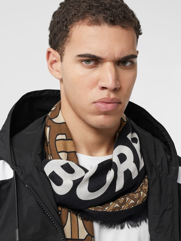 Monogram Print Cashmere Large Square Scarf in Bridle Brown | Burberry United Kingdom - cell image 2