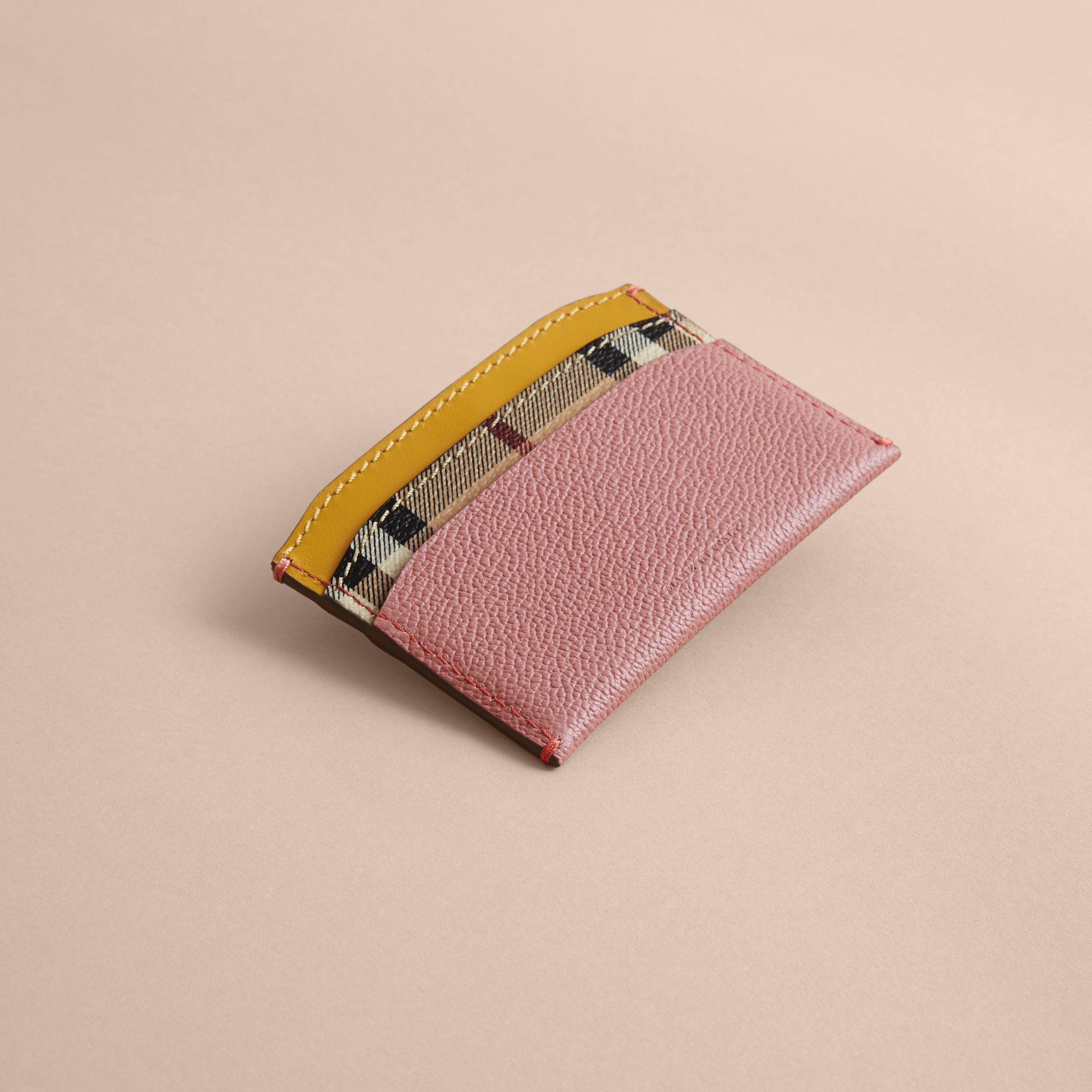 Colour Block Leather and Haymarket Check Card Case in Dusty Pink / Multi - Women | Burberry - gallery image 3