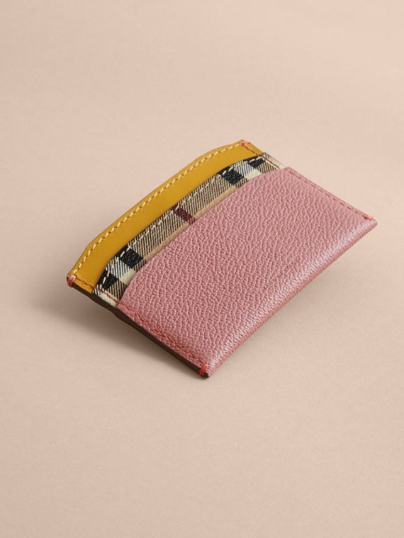 Colour Block Leather and Haymarket Check Card Case in Dusty Pink / Multi - Women | Burberry - cell image 2