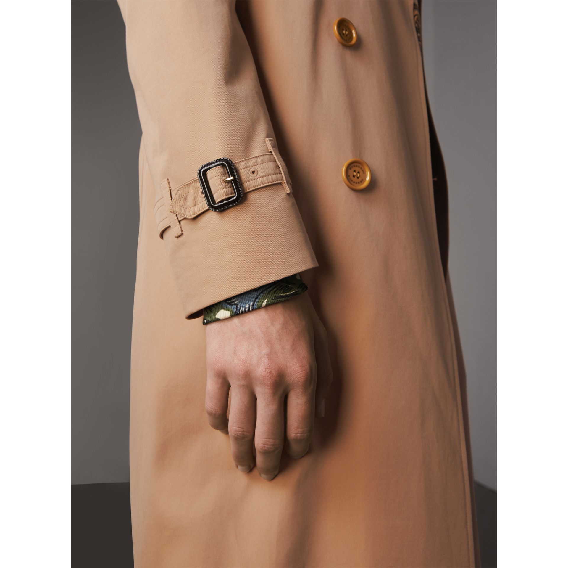 Extra-long Resin Button Cotton Gabardine Trench Coat in Honey - Men | Burberry Australia - gallery image 6