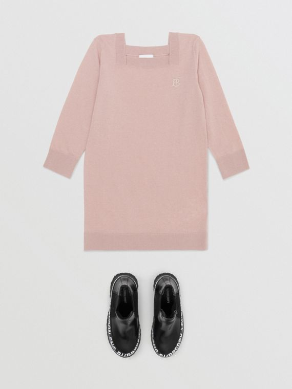 Monogram Motif Cashmere Sweater Dress in Lavender Pink