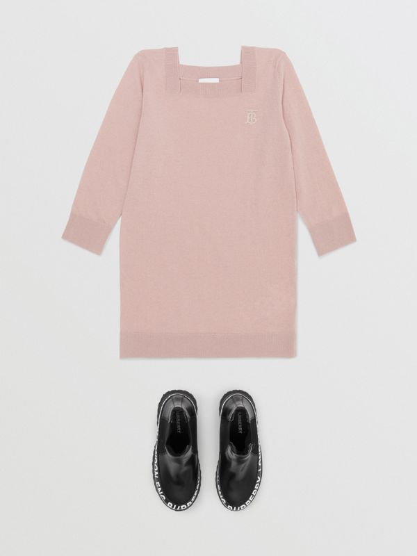 Monogram Motif Cashmere Sweater Dress in Lavender Pink | Burberry - cell image 2