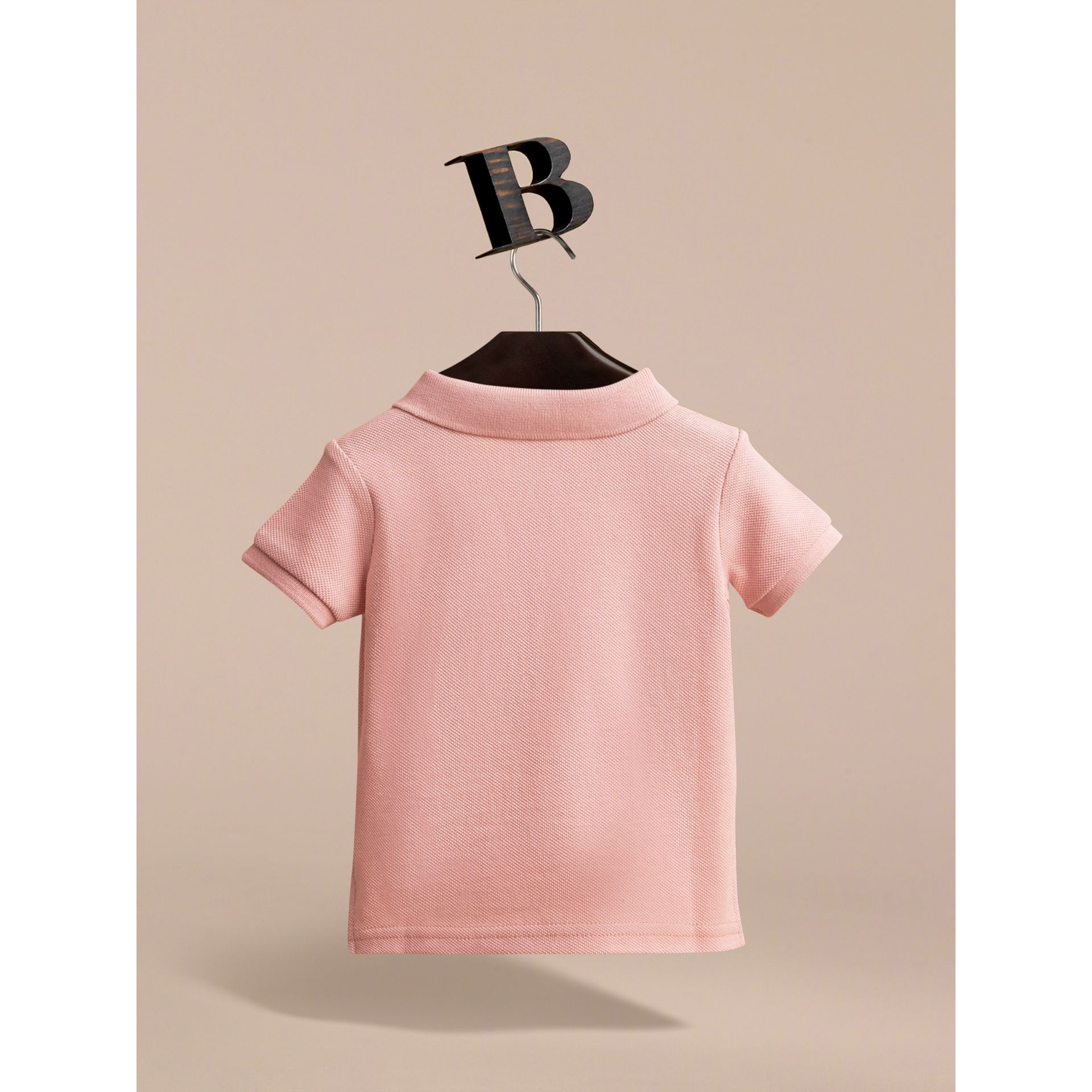 Check Placket Cotton Piqué Polo Shirt in Chalk Pink | Burberry - gallery image 3