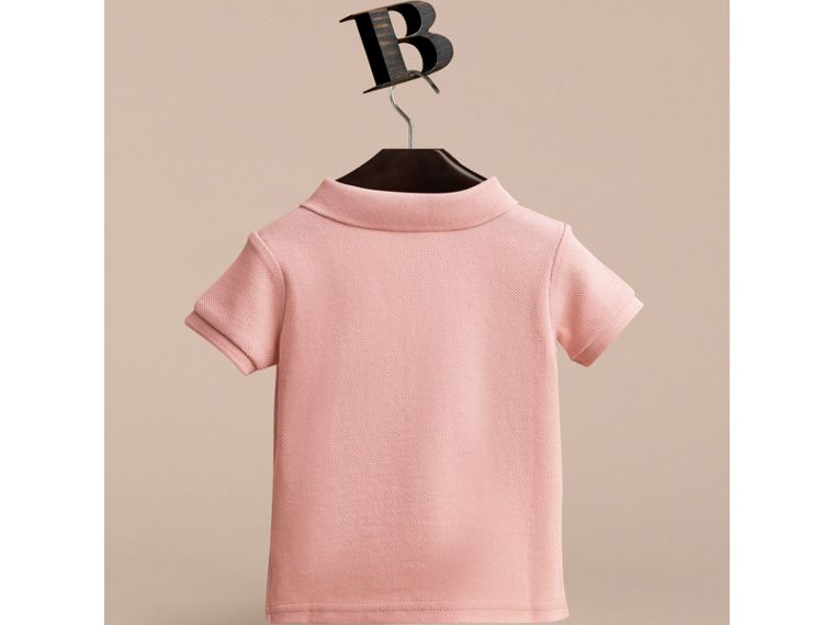 Check Placket Cotton Piqué Polo Shirt in Chalk Pink | Burberry - cell image 2