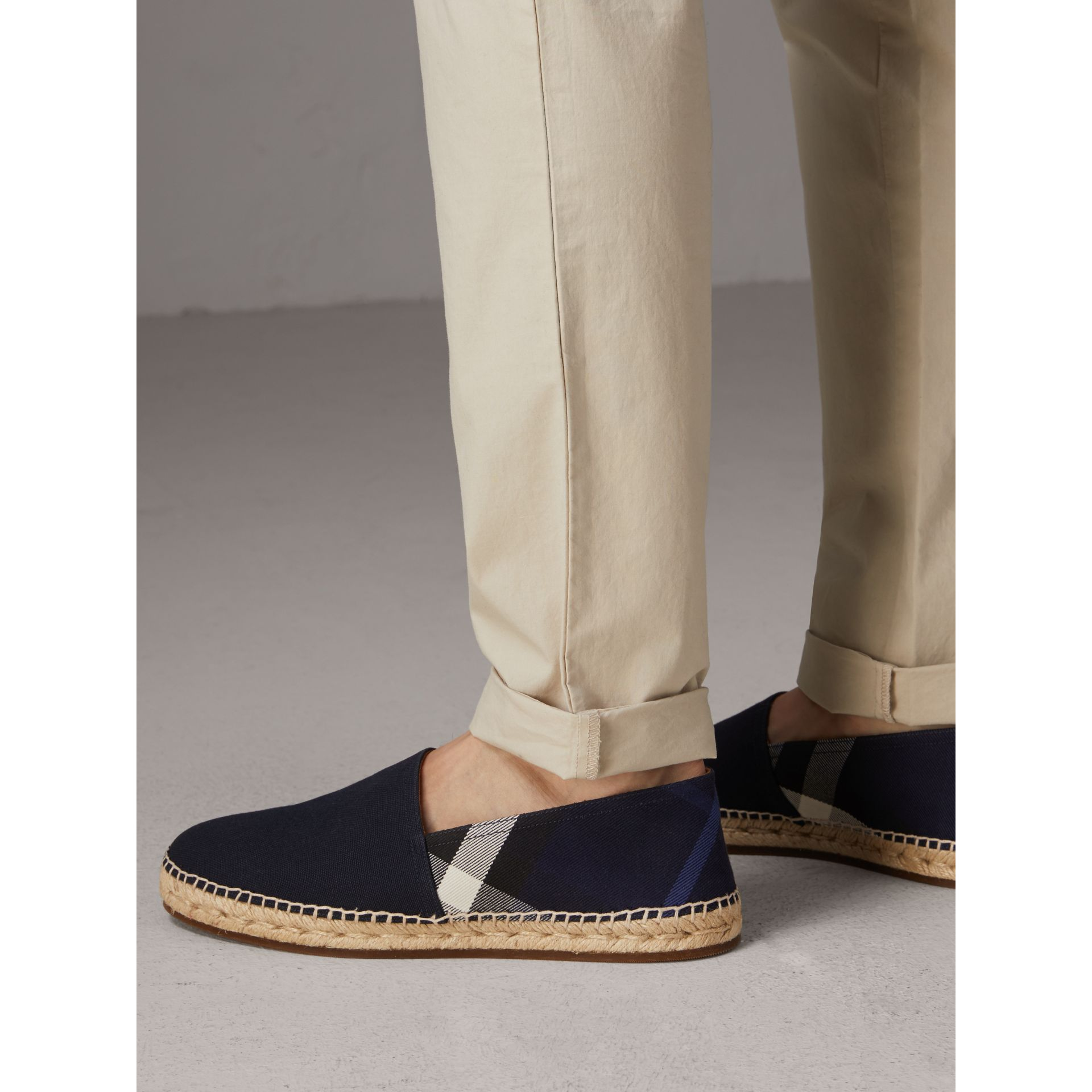 Overdyed House Check and Cotton Canvas Espadrilles in Indigo Blue - Men | Burberry Hong Kong - gallery image 3