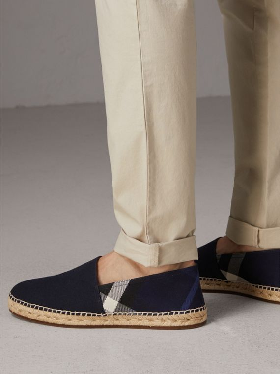 Overdyed House Check and Cotton Canvas Espadrilles in Indigo Blue - Men | Burberry Hong Kong - cell image 2