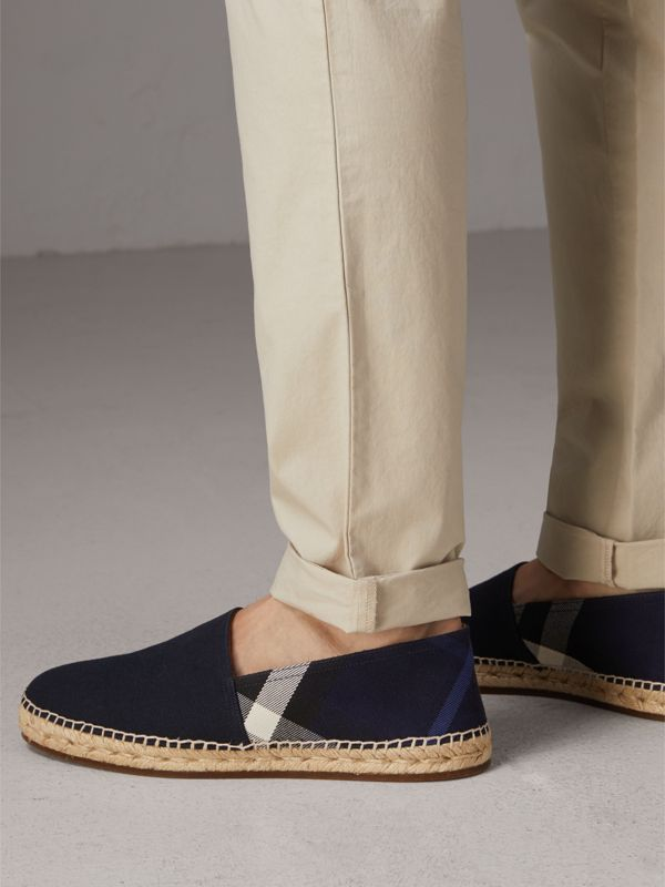 Overdyed House Check and Cotton Canvas Espadrilles in Indigo Blue - Men | Burberry - cell image 2