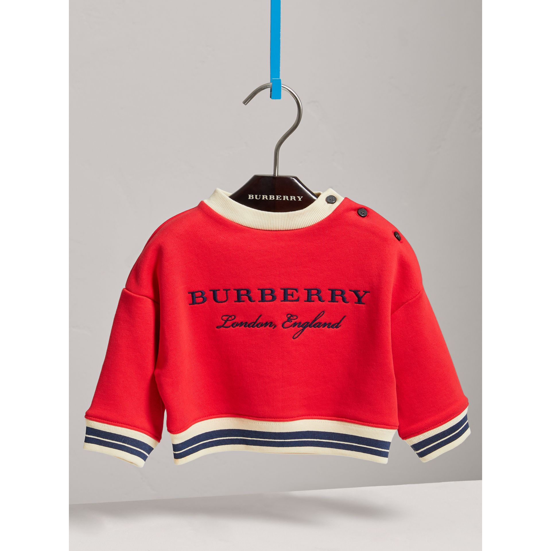 Contrast Stripe Embroidered Cotton Sweatshirt in Bright Orange Red | Burberry - gallery image 0