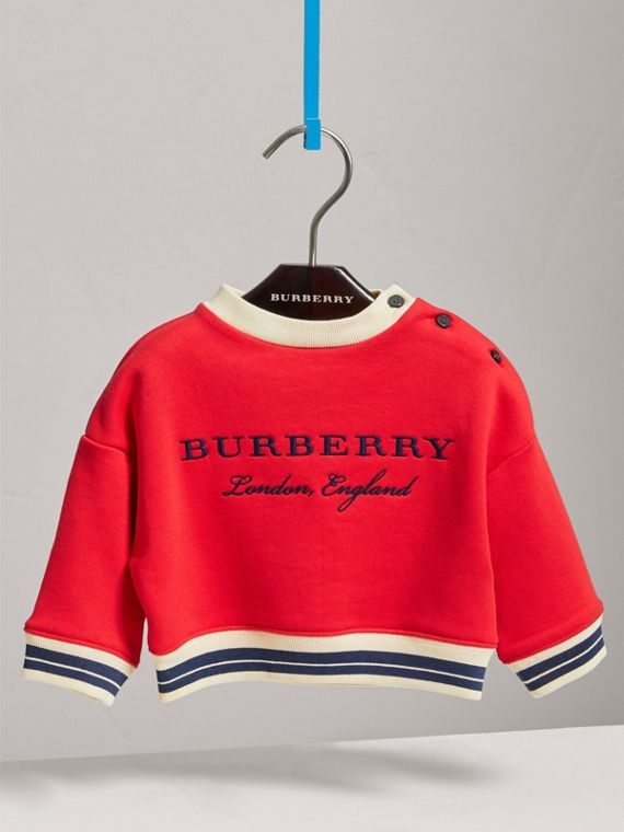Contrast Stripe Embroidered Cotton Sweatshirt in Bright Orange Red