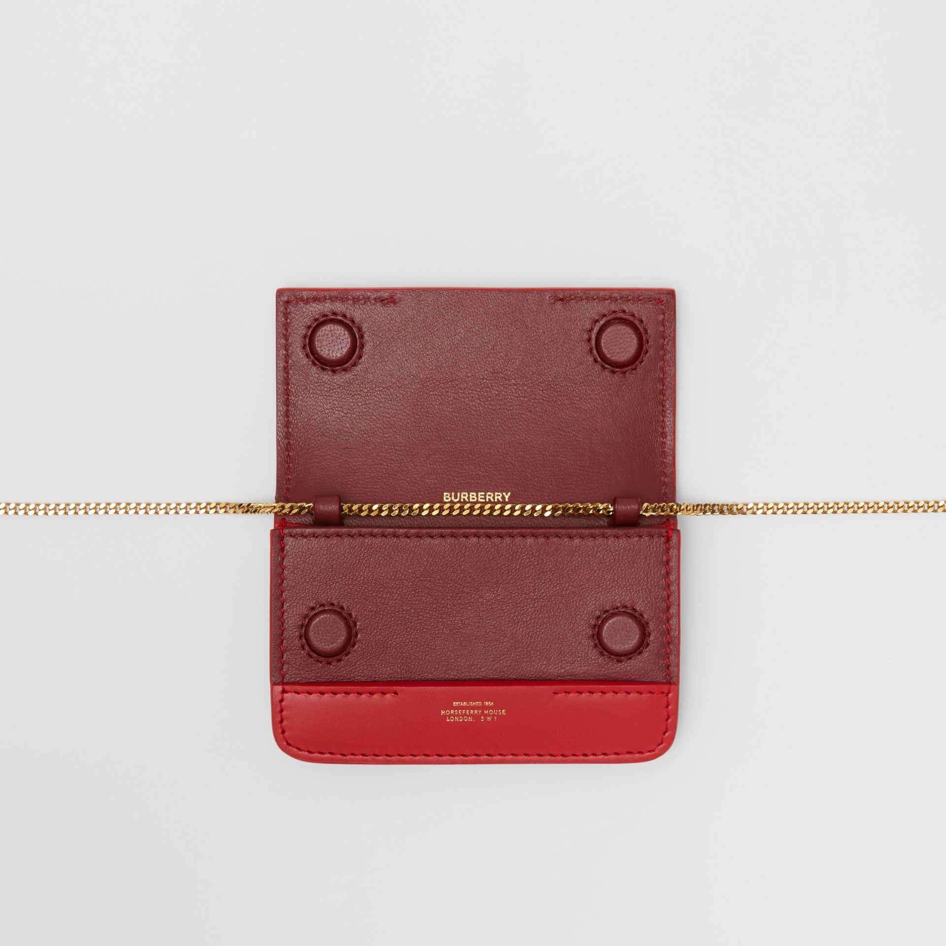 Two-tone Leather Card Case with Chain Strap in Red | Burberry - gallery image 4