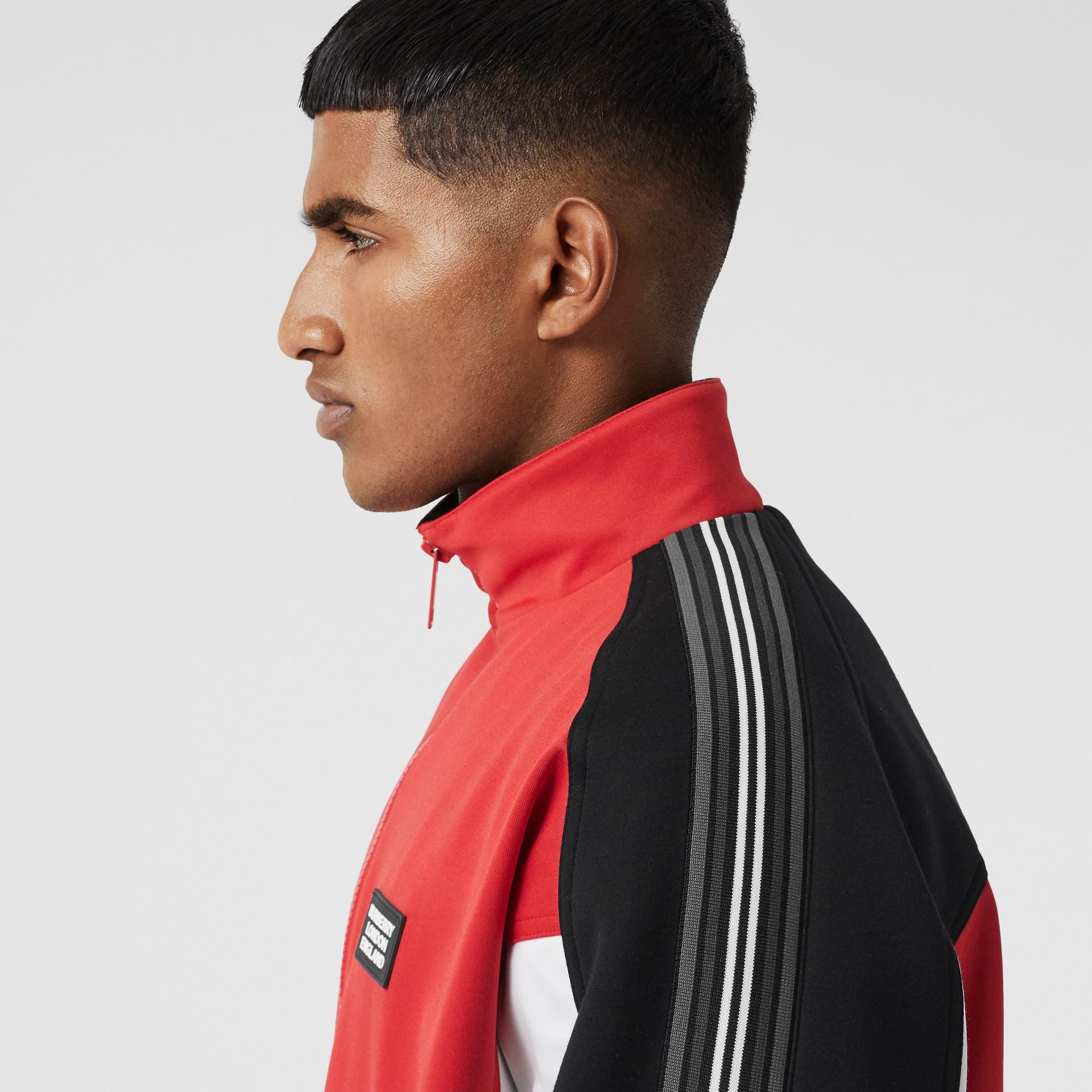 Veste de survêtement en jersey et néoprène avec logo appliqué (Rouge Vif) - Homme | Burberry - photo de la galerie 8