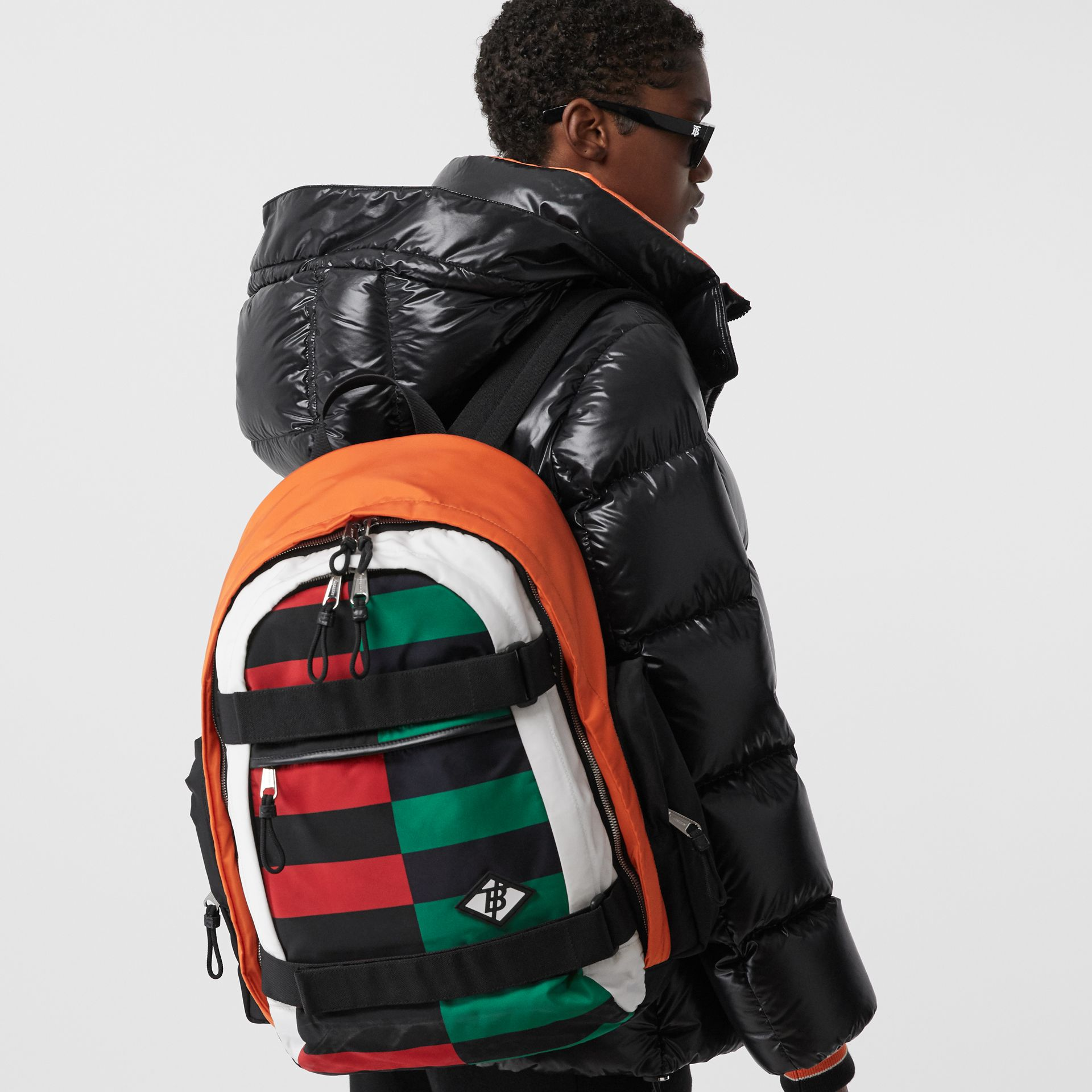 Large Colour Block ECONYL® Nevis Backpack in Military Red/green | Burberry United Kingdom - gallery image 2