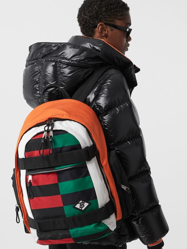 Large Colour Block ECONYL® Nevis Backpack in Military Red/green | Burberry United Kingdom - cell image 2