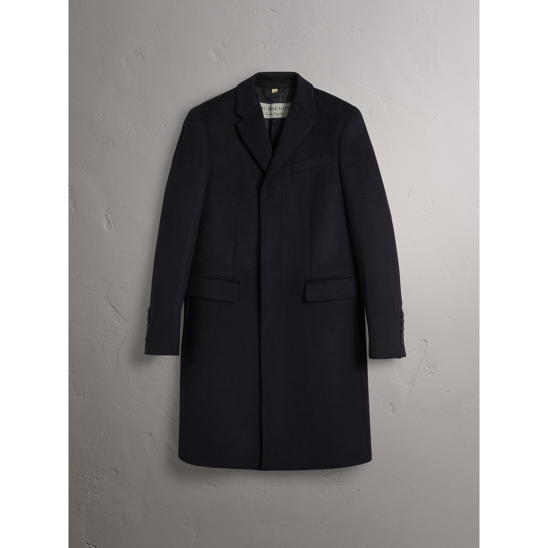 Wool Cashmere Tailored Coat in Navy - Men | Burberry - gallery image 3