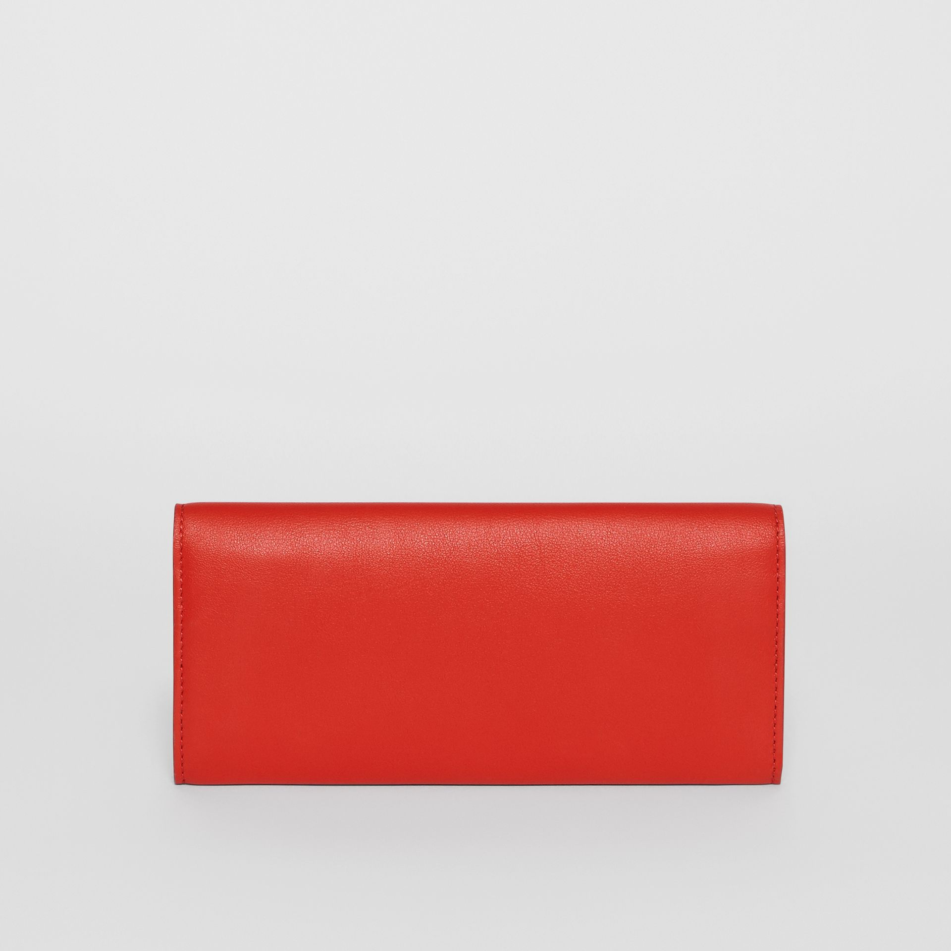 Quote Print Leather Continental Wallet in Bright Military Red - Women | Burberry - gallery image 5