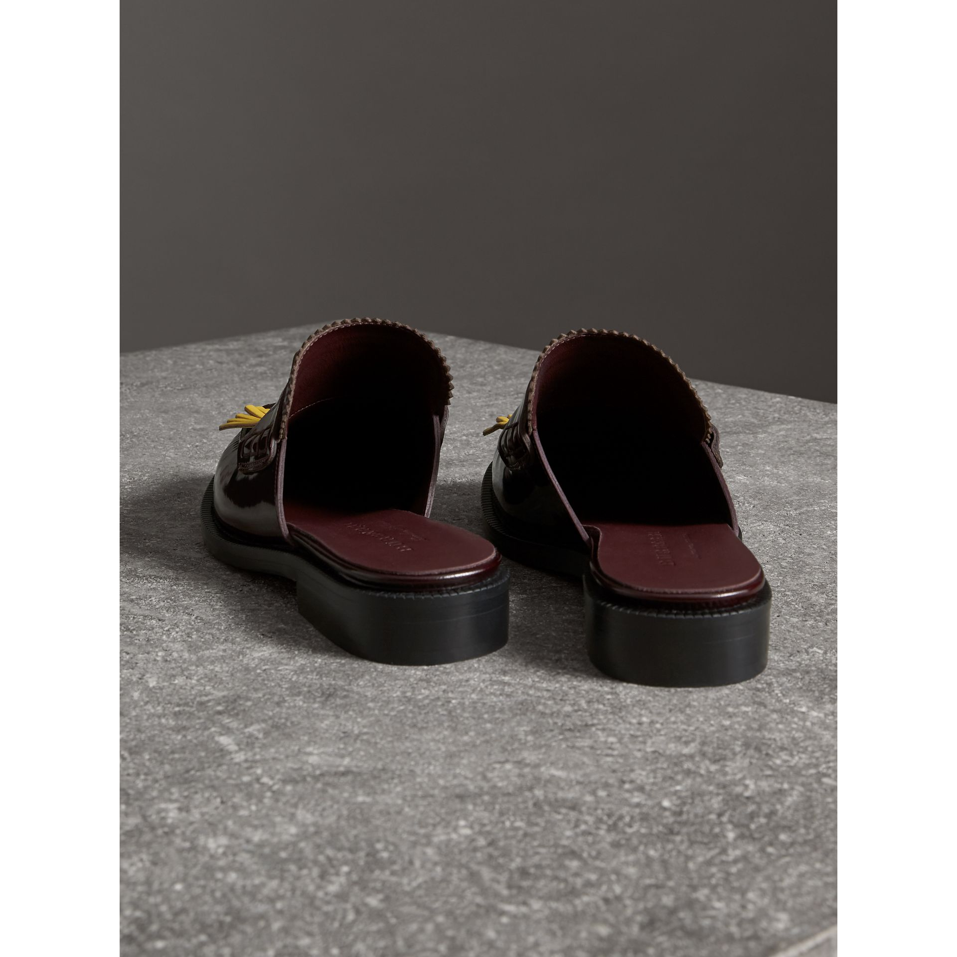 Contrast Kiltie Fringe Leather Mules in Burgundy - Women | Burberry - gallery image 3