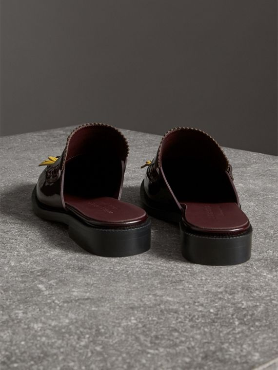 Contrast Kiltie Fringe Leather Mules in Burgundy - Women | Burberry Singapore - cell image 3