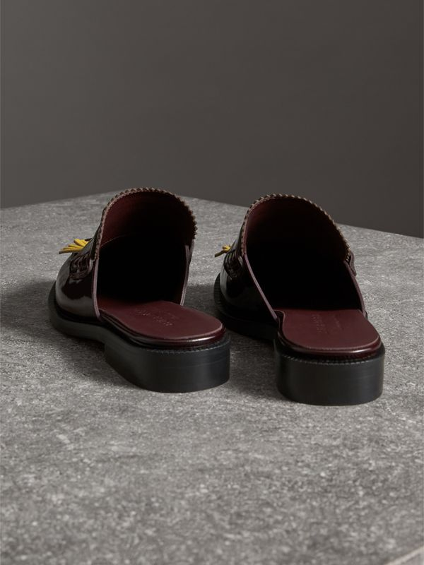 Contrast Kiltie Fringe Leather Mules in Burgundy - Women | Burberry - cell image 3