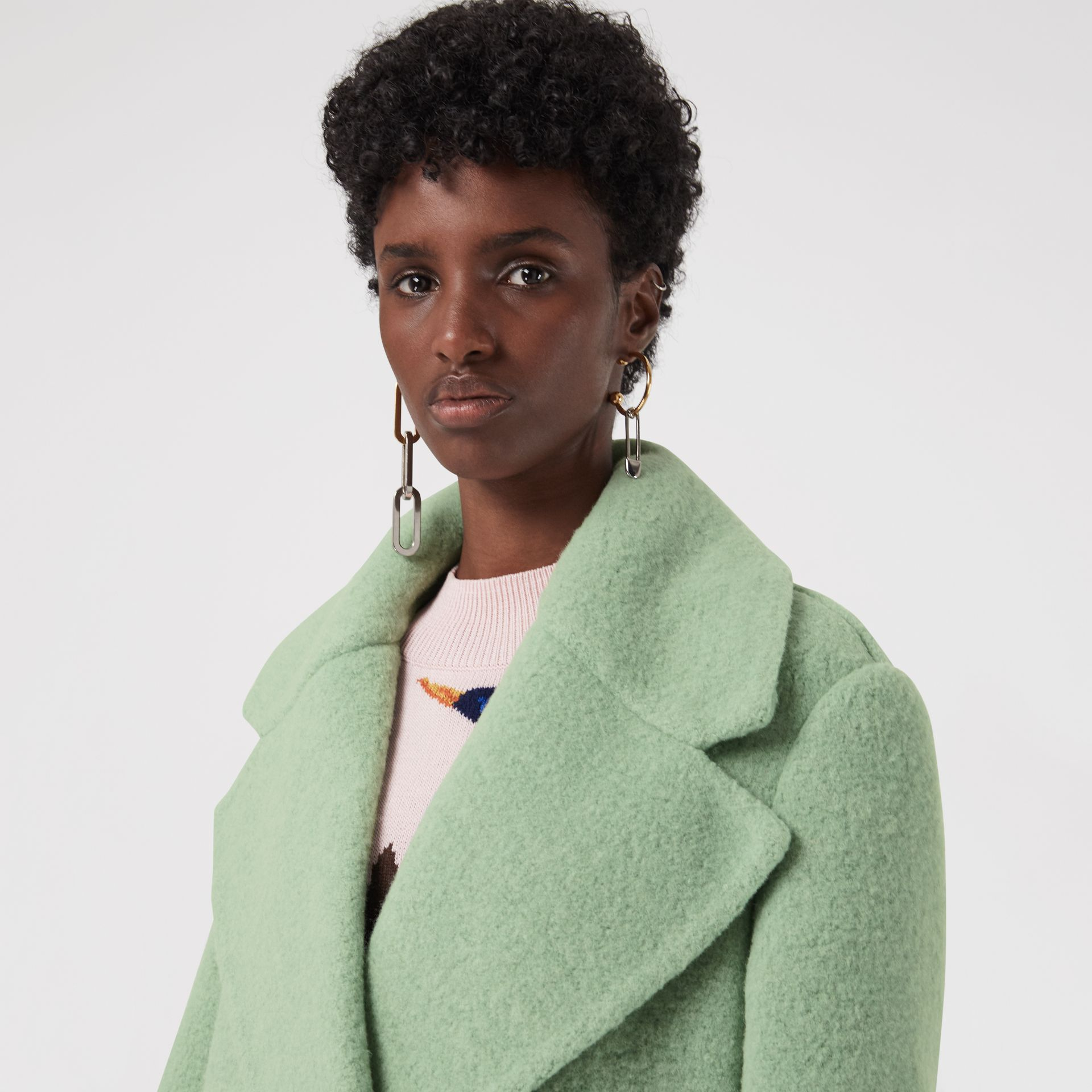 Double-faced Wool Alpaca Blend Oversized Coat in Celadon Green - Women | Burberry United Kingdom - gallery image 4