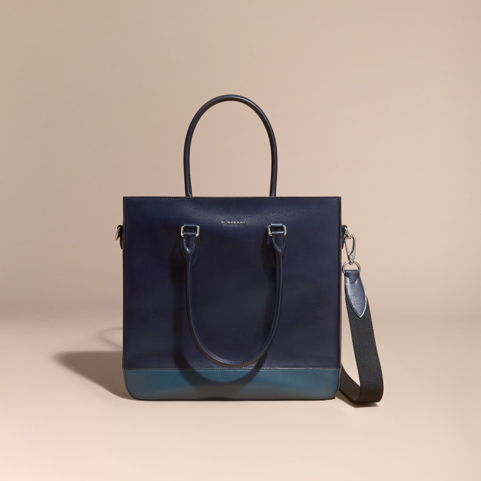 Dark navy/mineral blue Panelled London Leather Tote Bag Dark Navy/mineral Blue - gallery image 8