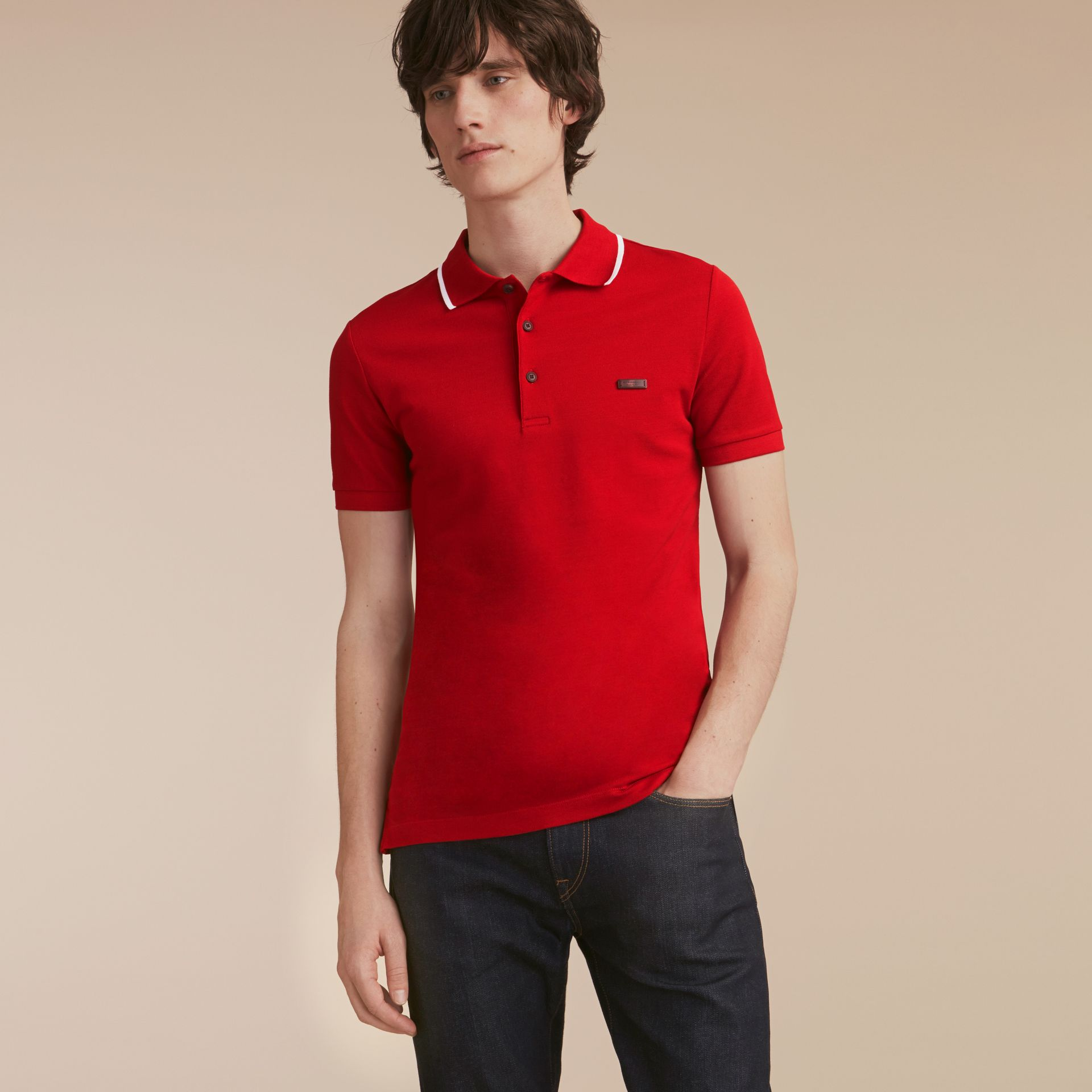 Tipped Collar Cotton Piqué Polo Shirt Military Red - gallery image 6